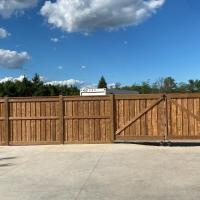 wood fence double rolling gate
