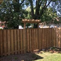 wood gate fence corner top